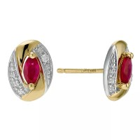 9ct Yellow Gold Oval Ruby & Diamond Earrings   H.Samuel