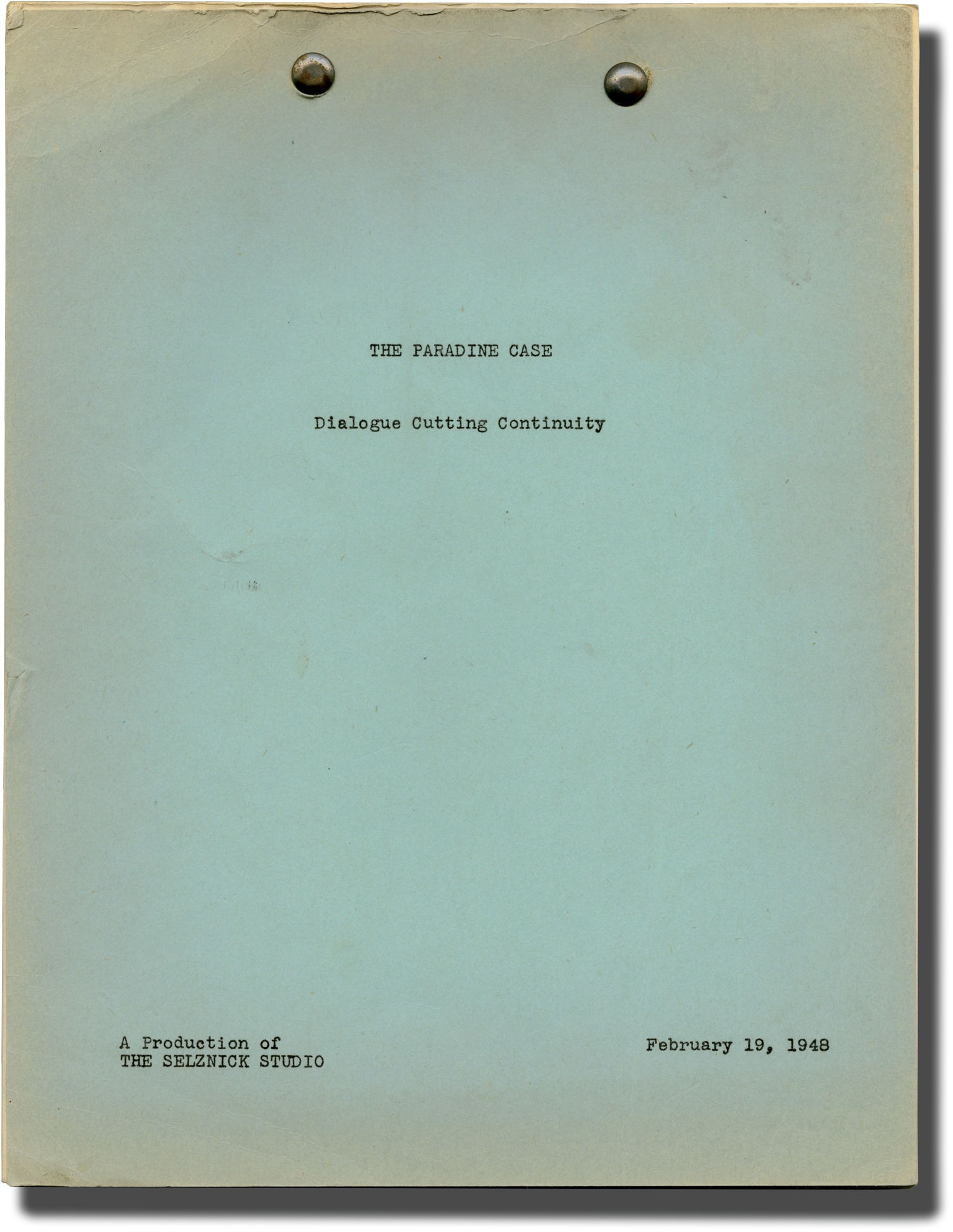 Post Production Los Angeles The Paradine Case Post Production Script For The 1947 Film By Charles Laughton Starring Alma Reville Screenwriters Gregory Peck Hardcover
