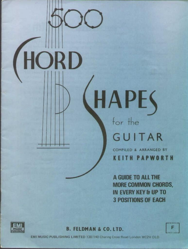 Cross Guitar Book 500 Chord Shapes For The Guitar By Keith Papworth 1960