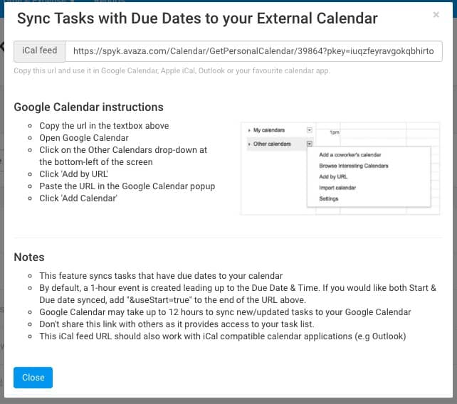 Sync Project Tasks to your Calendar with iCal Integration - Avaza