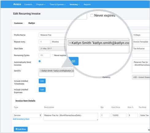 Powerful Recurring Invoicing Software - Avaza - when invoice is generated