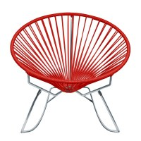 Rocking Accent Chair in Red with Chrome Frame Finish by ...