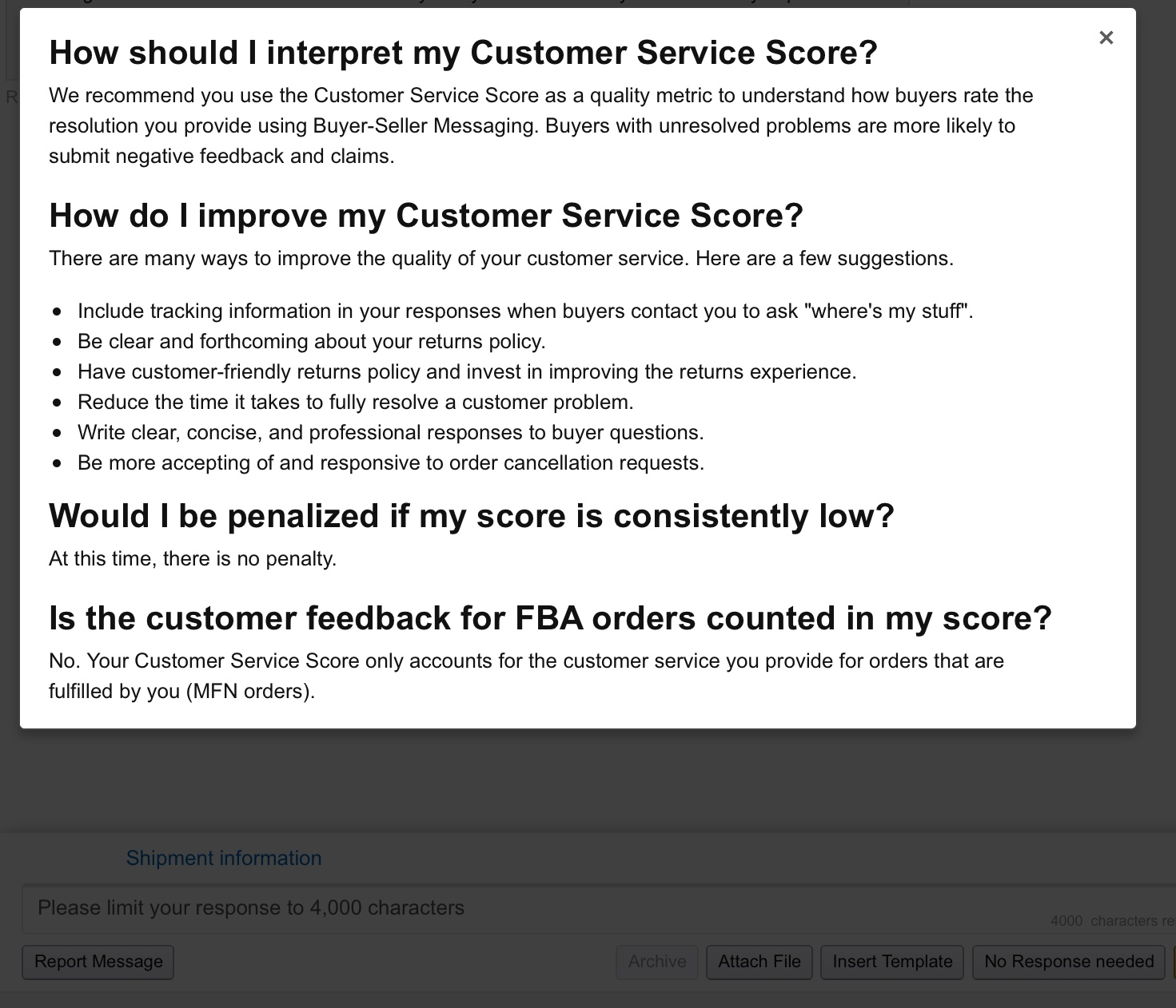Customer Service Questions New Beta Customer Service Score Metric General Selling On