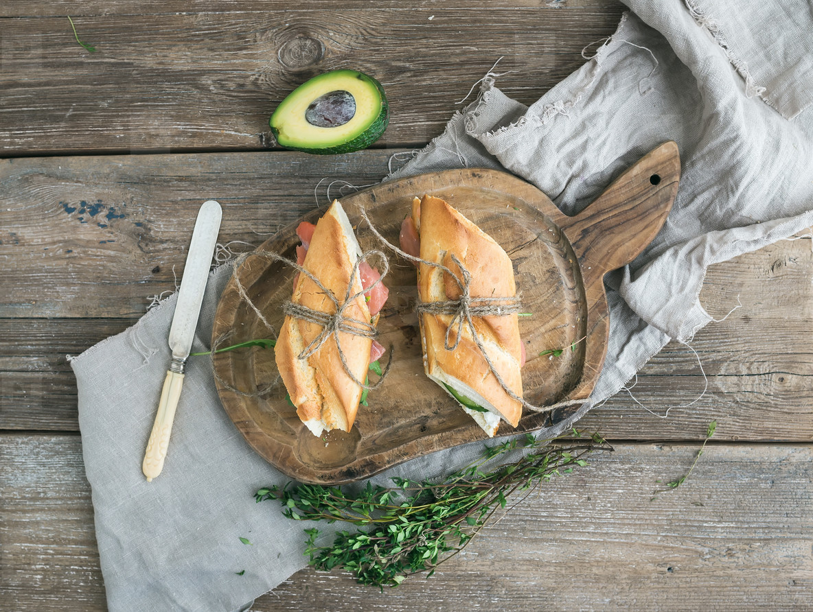 Baguette De Décoration Photos Salmon Avocado And Thyme Sandwiches In Baguette Tied Up With Decoration Rope On A Rustic Wooden Board Over Rough Wood Background