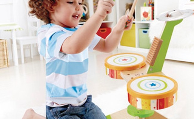 Kids Wooden Drum Set Rock Rhythm Band Educational