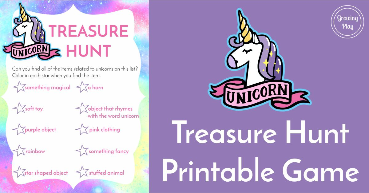 Unicorn Treasure Hunt Game Free Printable Growing Play