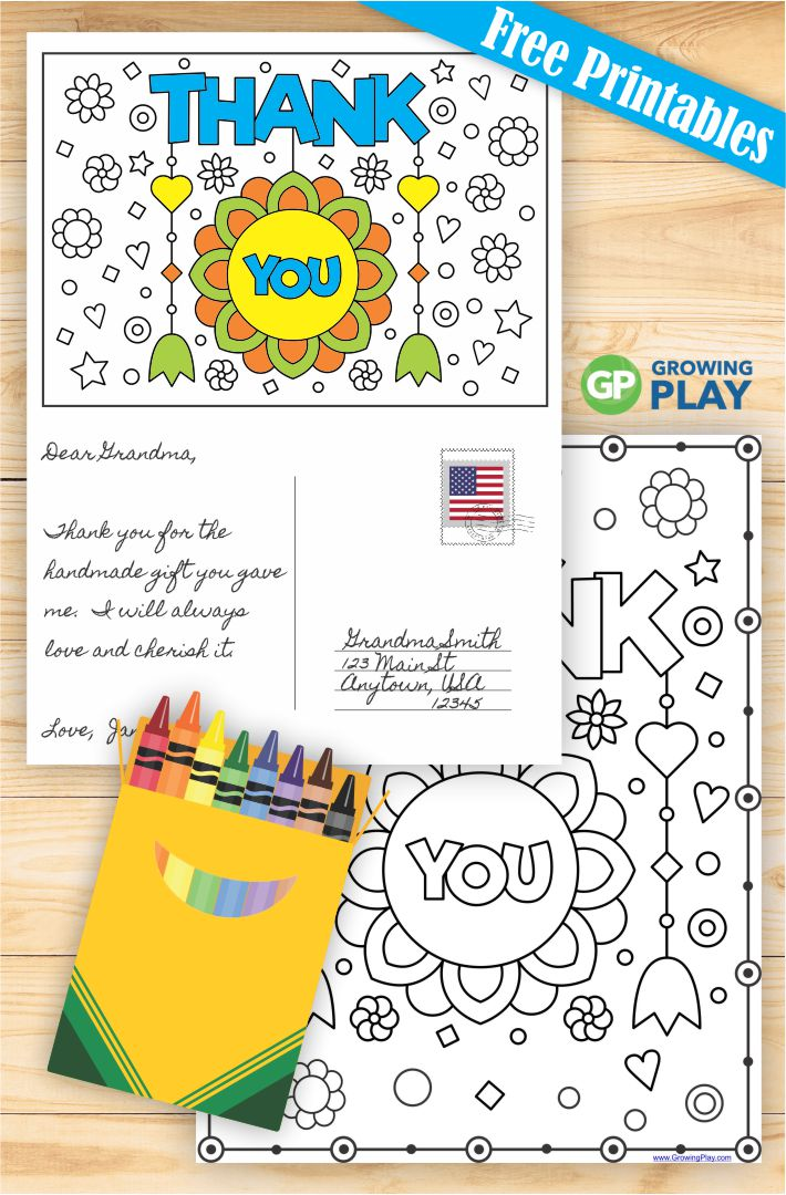 Free Printable Thank You Cards to Color - Growing Play