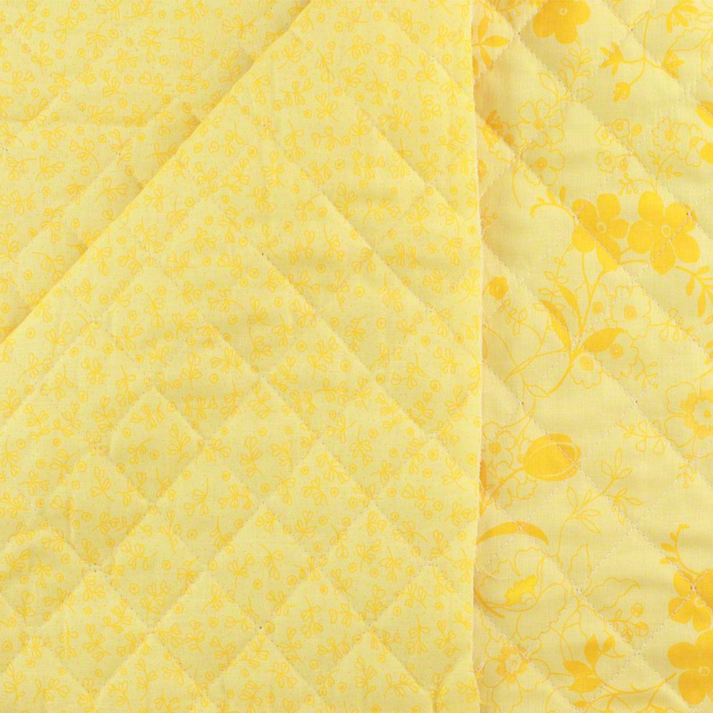 Quilted Fabric Reversible Pre Quilted Fabric Floral Yellow