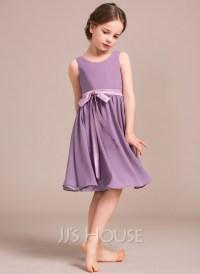 A-Line/Princess Scoop Neck Knee-Length Chiffon Junior ...