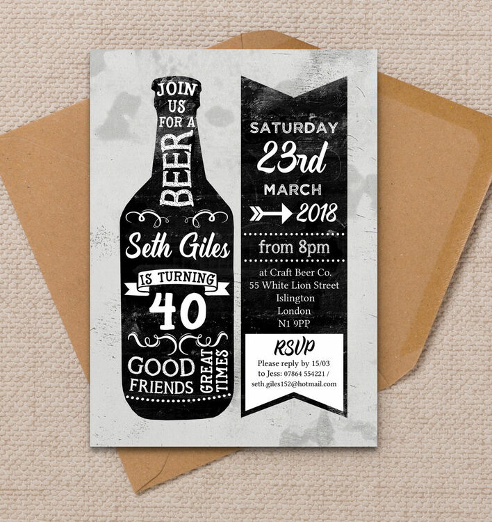 Formal Invitation Rsvp Beer Themed 40th Birthday Party Invitation From £1.00 Each