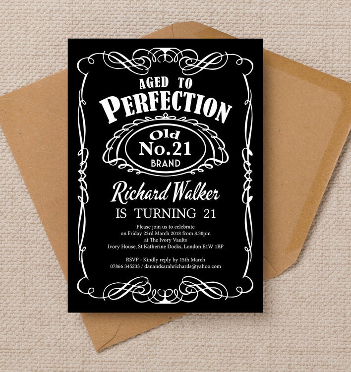 Whiskey Label Themed 21st Birthday Party Invitation from £090 each