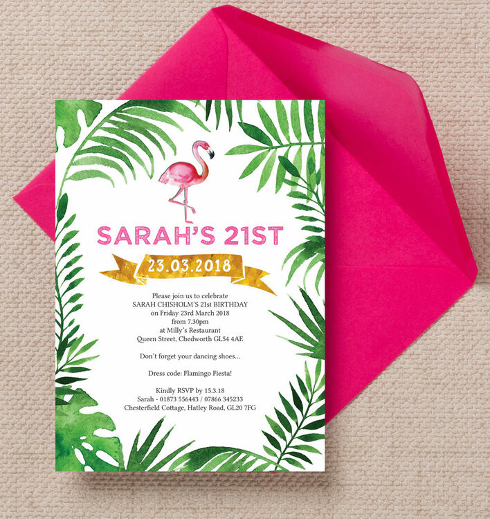 Pink Flamingo Tropical Themed 21st Birthday Party Invitation from - birthday party invitations