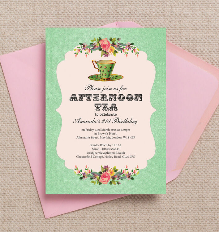 Vintage Afternoon Tea Themed 21st Birthday Party Invitation from