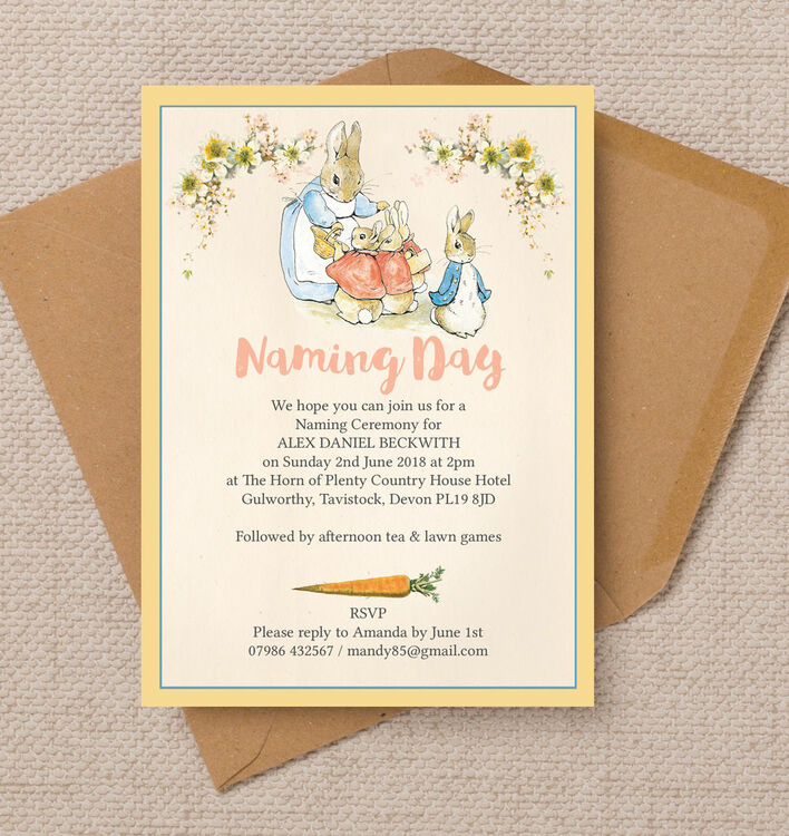 Flopsy Bunnies Naming Day Ceremony Invitation from £080 each