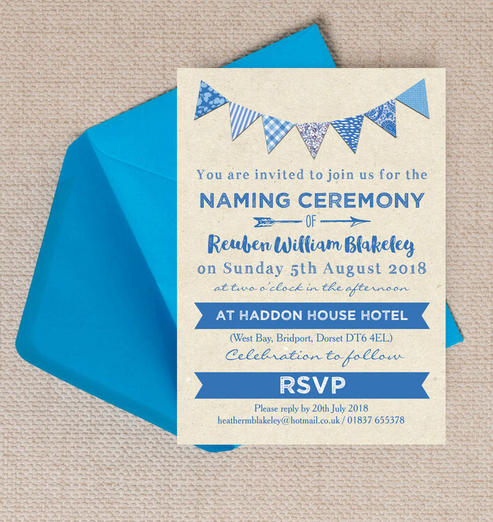 Blue Bunting Naming Ceremony Day Invitation from £080 each