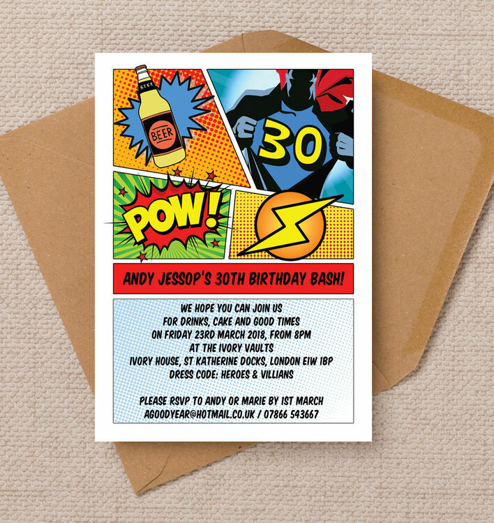 Comic Book Inspired Superhero Birthday Party Invitation from £090 each