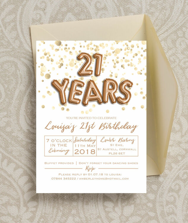 Gold Balloon Letters 21st Birthday Party Invitation from £090 each