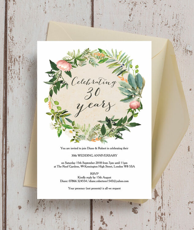 Floral Wreath 30th / Pearl Wedding Anniversary Invitation from £090