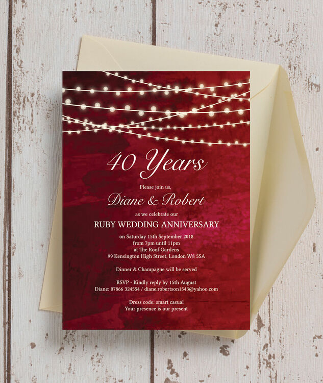 Invitation Cards Ruby Wedding Anniversary Personalised Red Fairy Lights 40th / Ruby Wedding