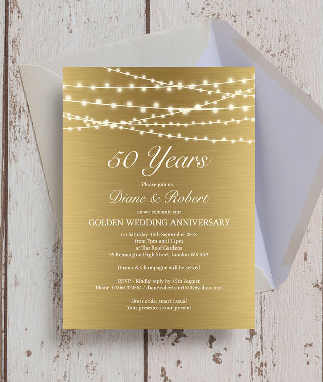 Gold Fairy Lights 50th / Golden Wedding Anniversary Invitation from