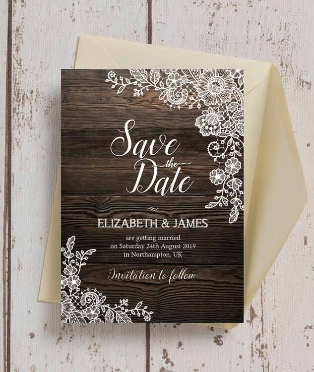 Rustic Wood  Lace Wedding Save the Date from £085 each
