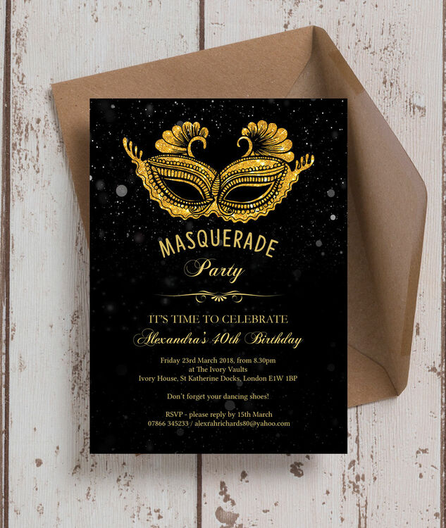 Masquerade Themed 40th Birthday Party Invitation from £090 each