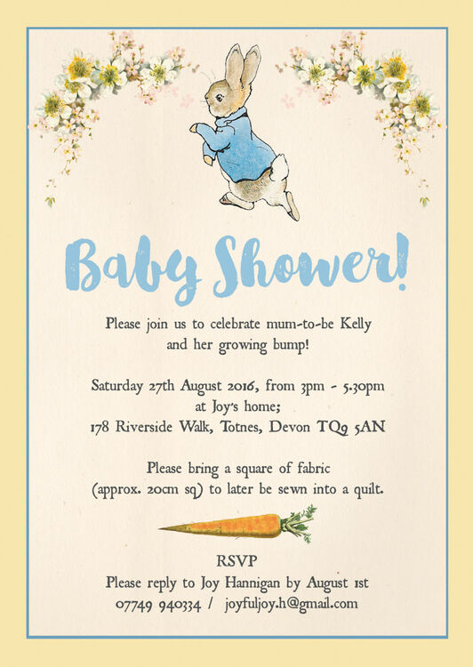Peter Rabbit Baby Shower Invitation from £080 each