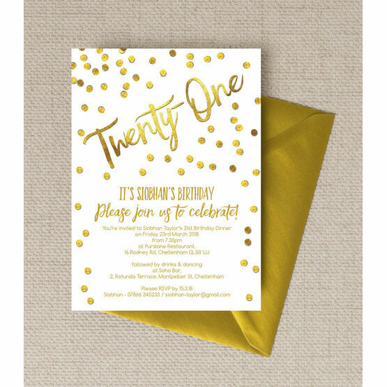 Gold Calligraphy  Confetti 21st Birthday Party Invitation from