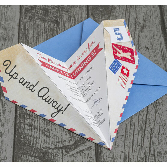 Personalised Kids Paper Airplane Birthday Party Invitation
