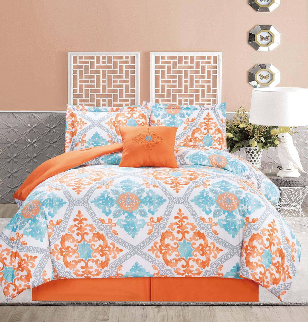 5 Piece Regal Orange/Blue/White Comforter Set