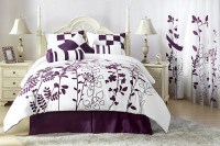 7Pcs Full Renee Purple and White Bedding Comforter Set | eBay