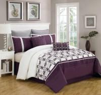 8 Piece Queen Ellis Purple and White Bedding Comforter Set ...