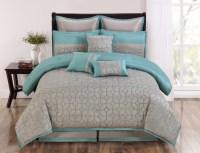 9 Piece Queen Diamante Aqua and Taupe Comforter Set | eBay