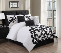 9 Piece Empress 100% Cotton Black/White Comforter Set ...