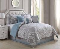 7 Piece Glamour Taupe/White Comforter Set