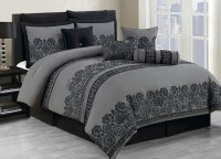 10 Piece King Miya Black and Gray Comforter Set | eBay