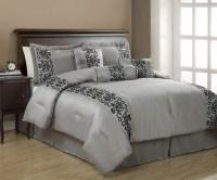 7Pcs King Penelope Black and Gray Comforter Set | eBay