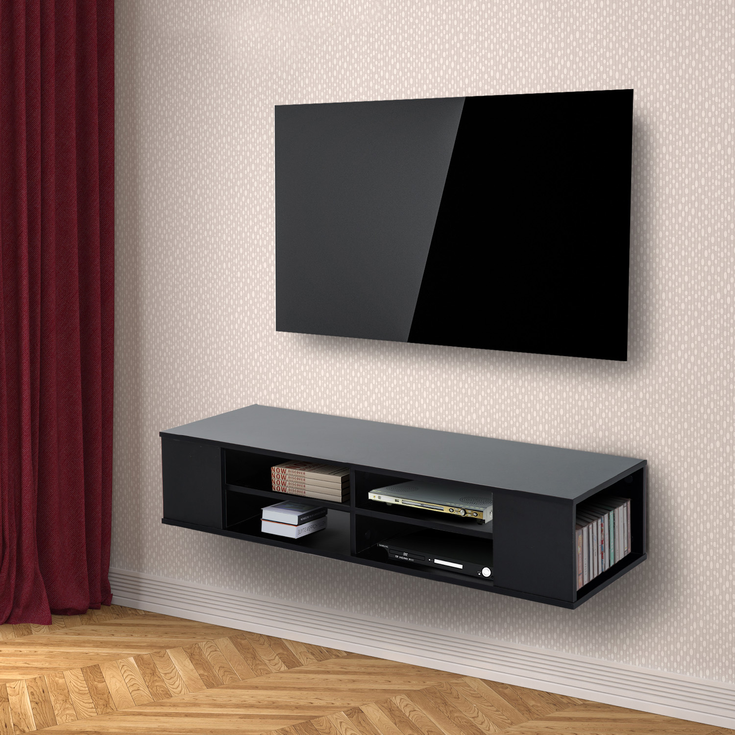 Floating Tv Unit Wall Mounted Modern 47 Floating Wall Mounted Tv Stand Unit Cabinet
