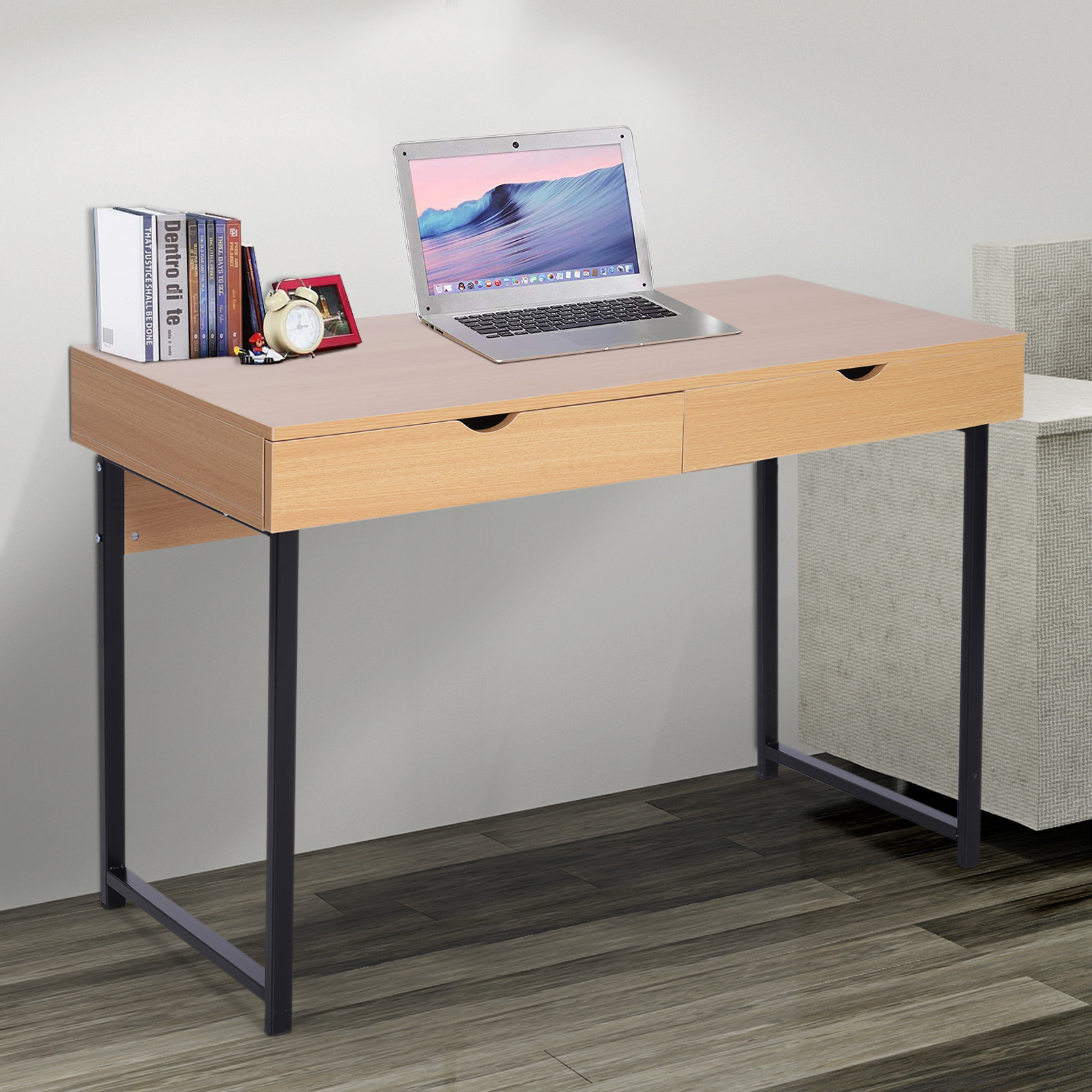 Modern Compact Computer Desk Details About 48 L Wood Modern Computer Table Storage Study Working Desk W Slide Out Drawers