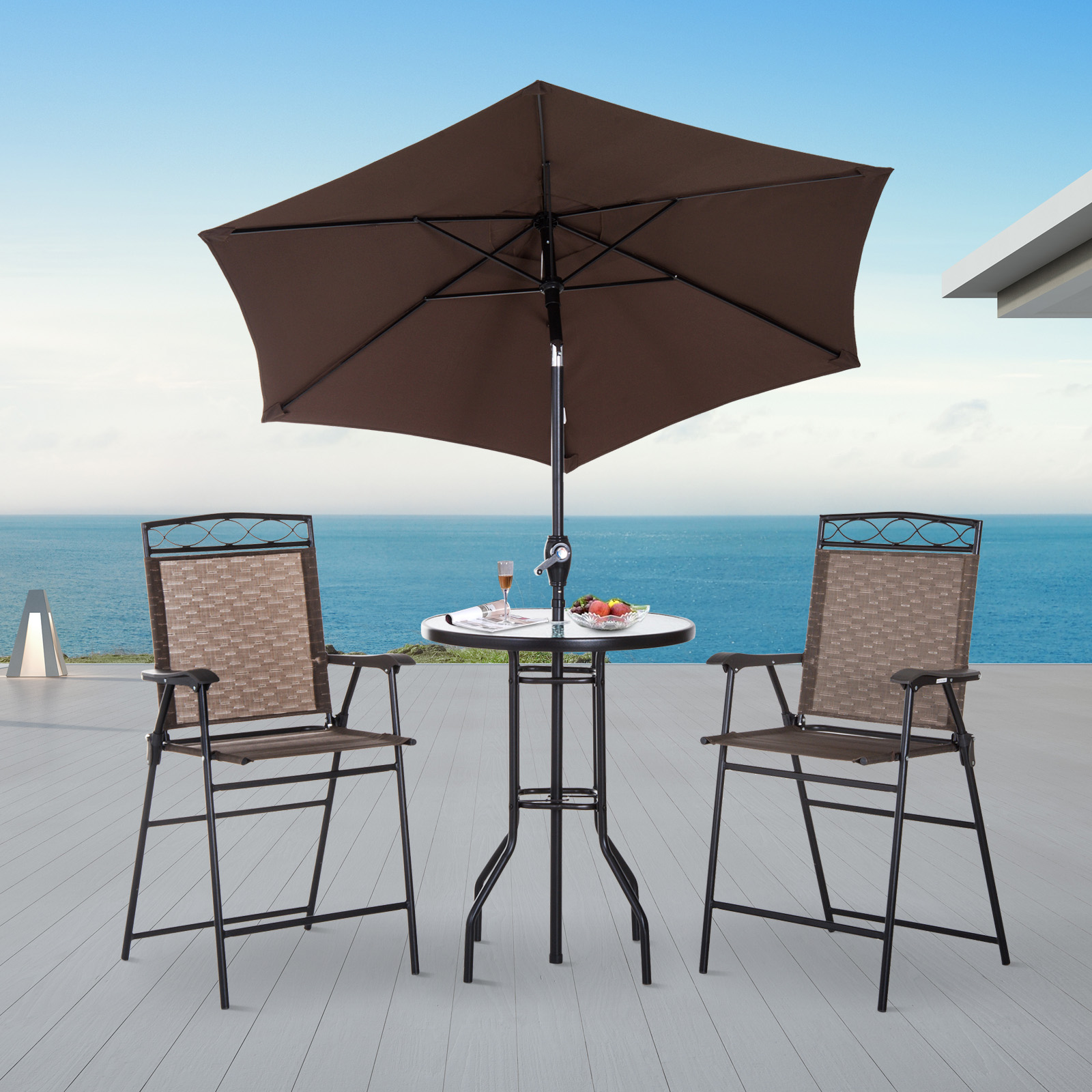 Outdoor Patio Furniture Dining Table Details About Outsunny 4pc Steel Folding Dining Table Set W Umbrella Outdoor Patio Furniture