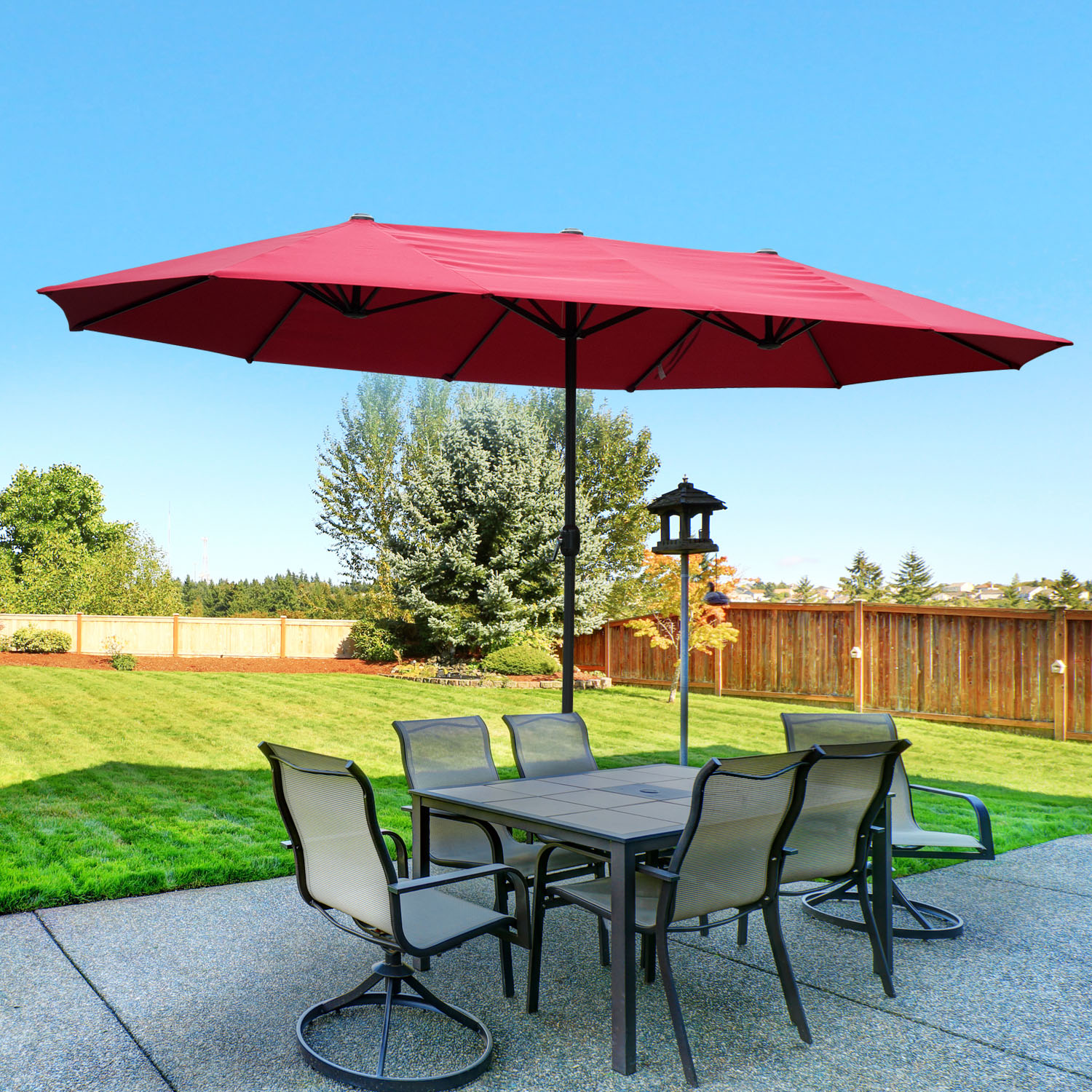 Outdoor Shade Umbrella 15 39 Double Sided Patio Umbrella Twin Sun Canopy Market