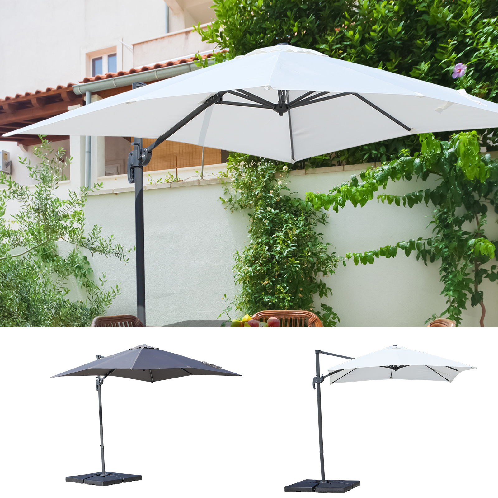 Jilong Poolheizung Square Cantilever Umbrella