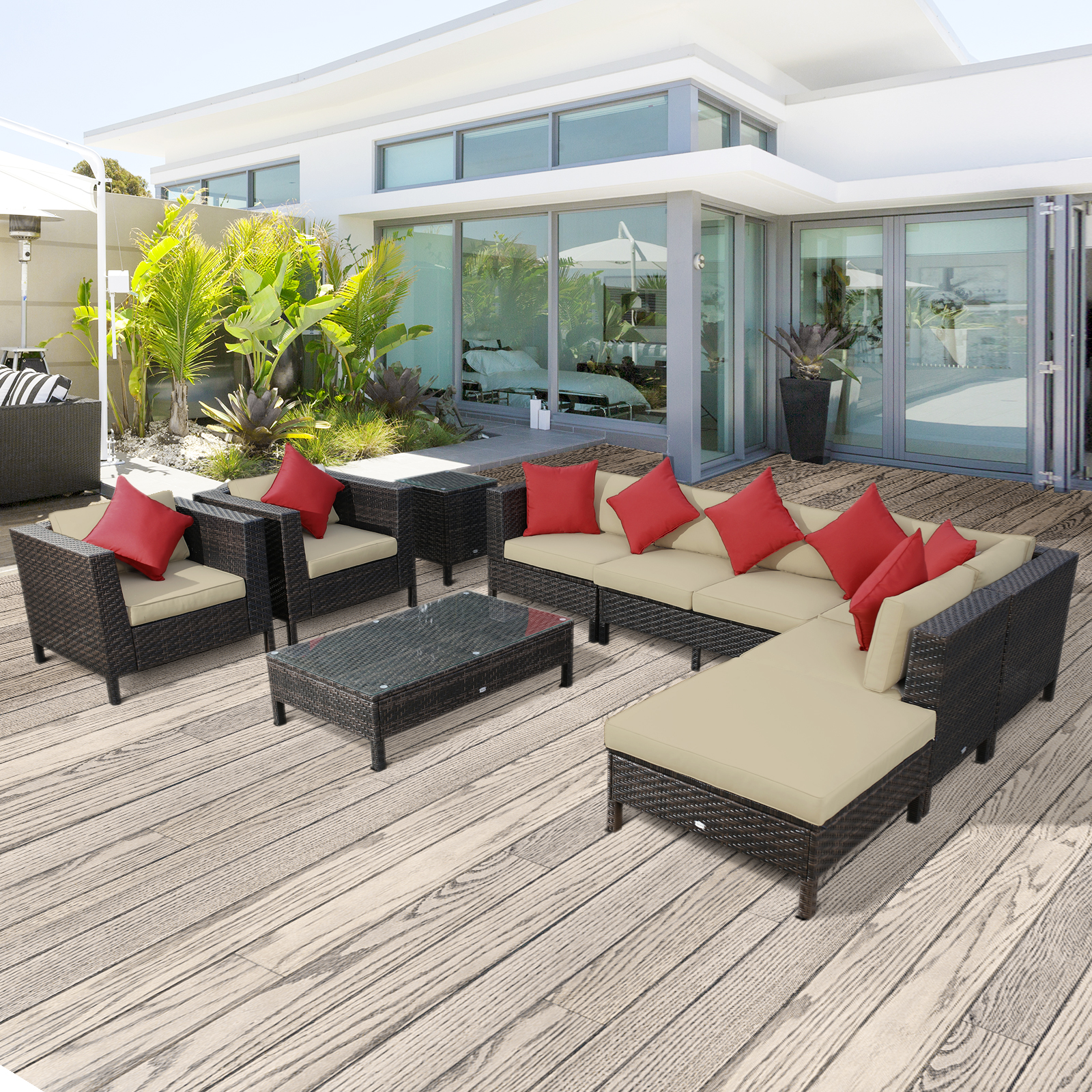 Garden Furniture Corner Sofa Ebay Details About 9pc Rattan Wicker Outdoor Patio Furniture Sectional Seating Sofa Set