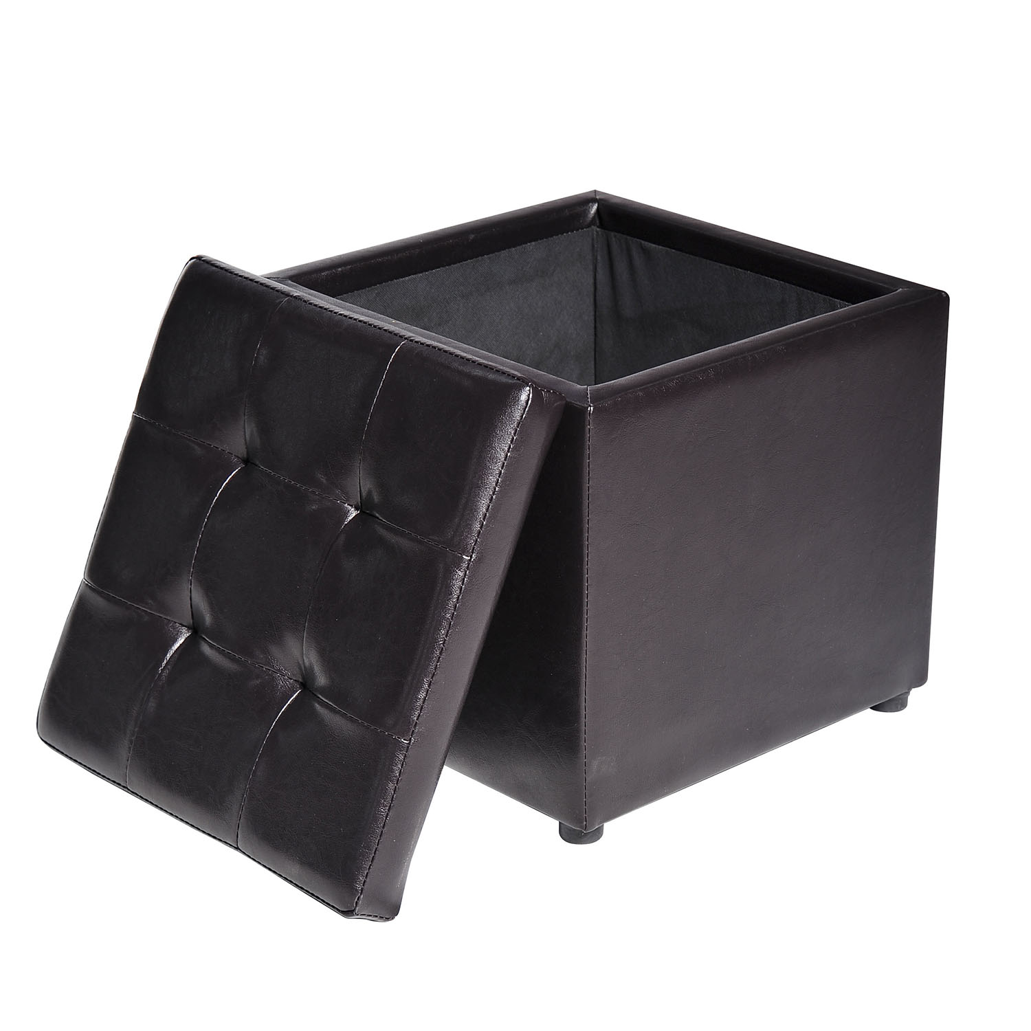 Leather Upholstered Lounge Faux Leather Storage Footrest Ottoman Cube Removable Lid