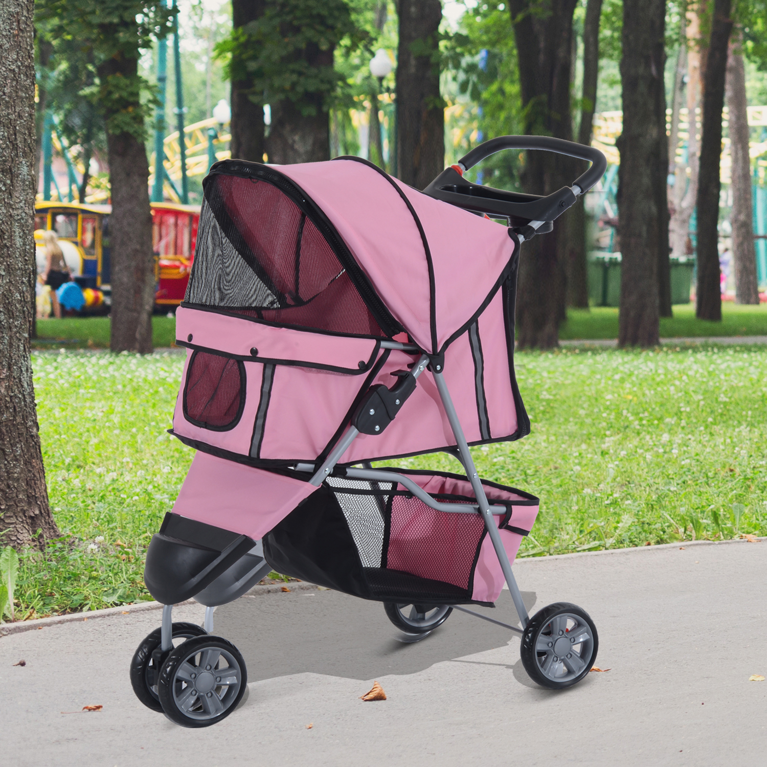 Oxford Pet Stroller Ebay Details About Pawhut Pushchair Carrier Pet Stroller Dog Cat Puppy Jogging W 3 Wheels Pink New