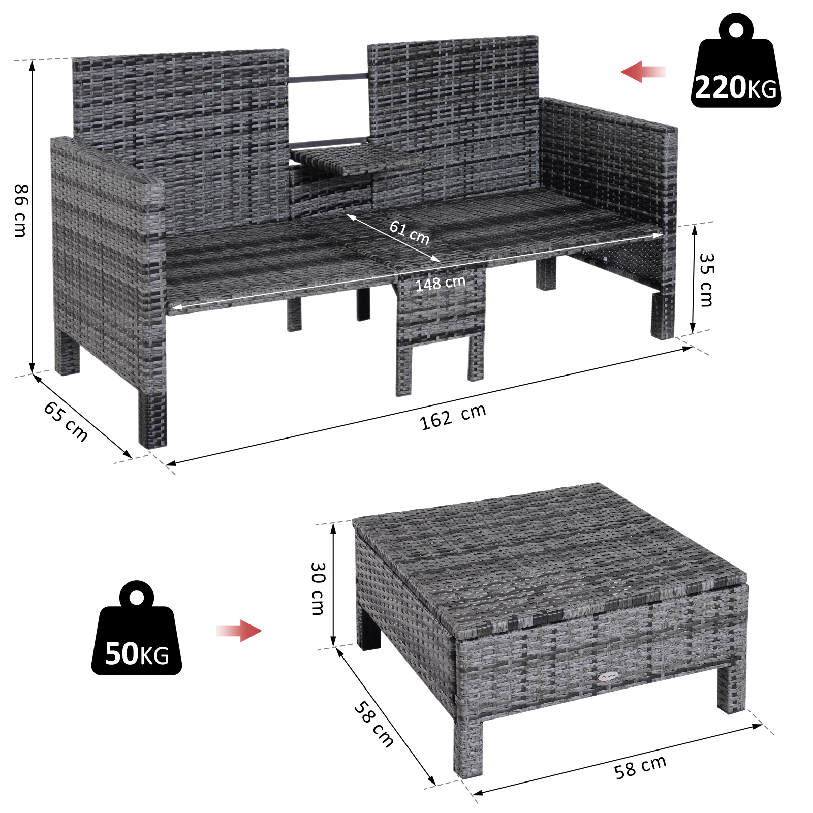 Couchtisch Woody 148 Outsunny Outsunny Outsunny 3 Tlg Polyrattan Gartensofa