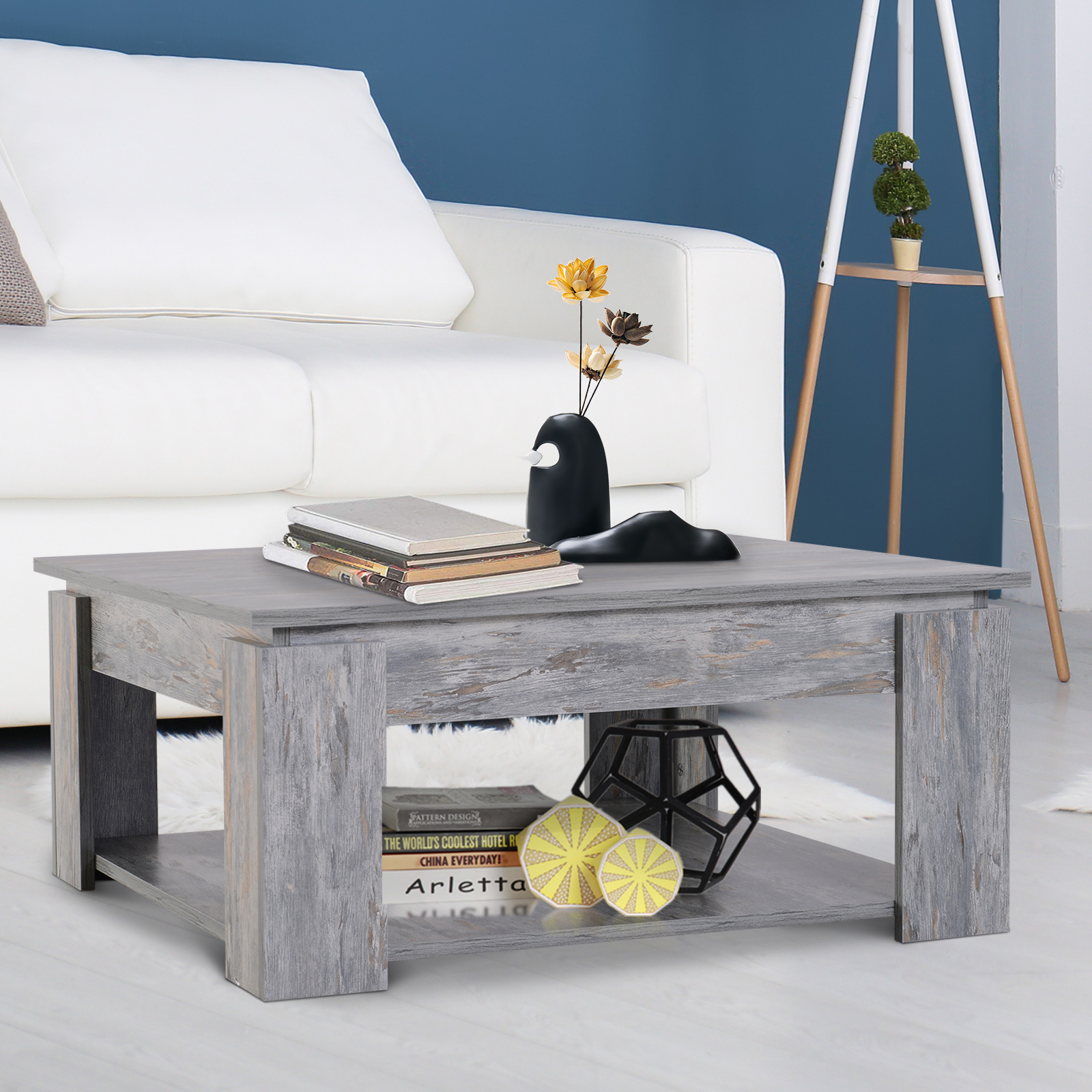 Modern Coffee Table With Storage Details About 2 Tier Modern Coffee Table Console Table Storage Shelf Living Room Wood Grain