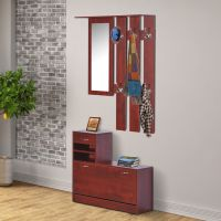 2pc Entryway Hall Coat Rack Shoe Storage Bench Organizer