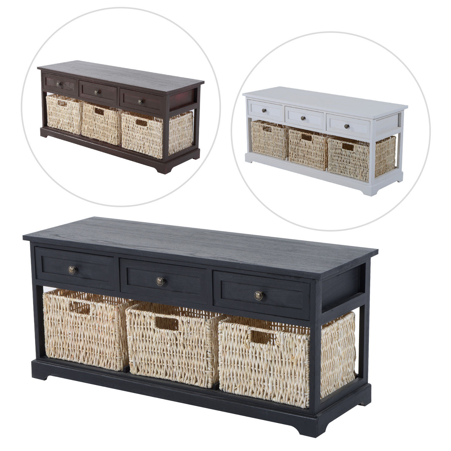 Wooden Storage Bench Details About Entryway Wooden Storage Bench With 3 Drawers Baskets Home Furniture Organizer