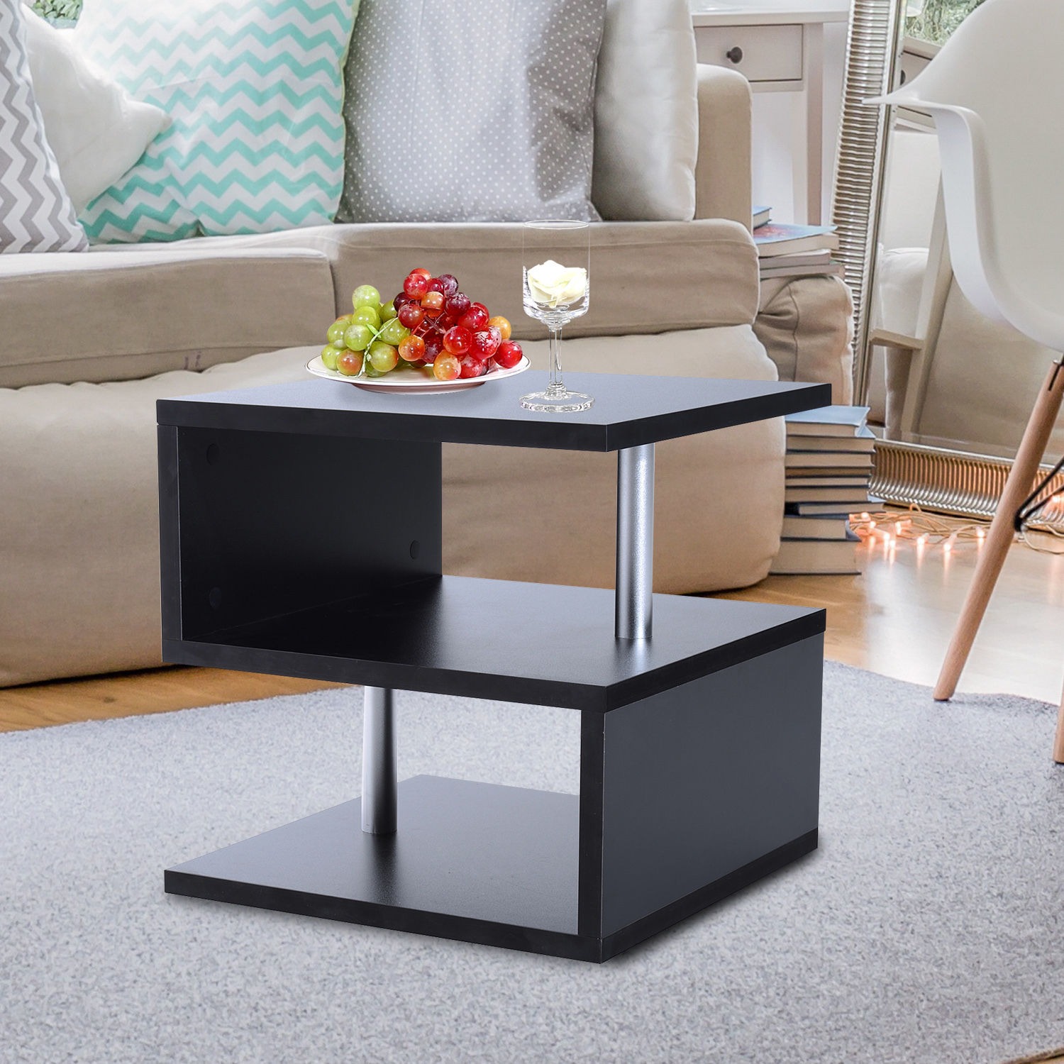 Sofa End Tables With Storage 2 Tier Side End Coffee Table Storage Shelves Sofa Couch